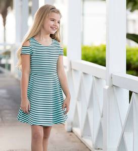 Striped Open Shoulder Skater Dress