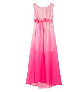 Sleeveless Ombre Dress with Satin Ribbon Belt