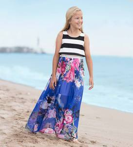 Sleeveless Striped and Floral Maxi Dress