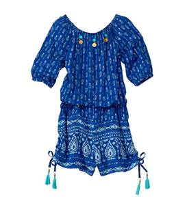 Print Romper with Charms and Tassels