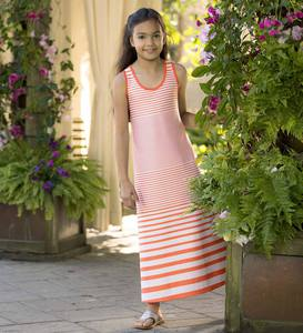 Sleeveless Horizontal Stripe Maxi Dress
