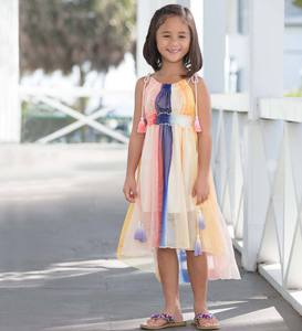 Tie-Dye High Low Chiffon Dress
