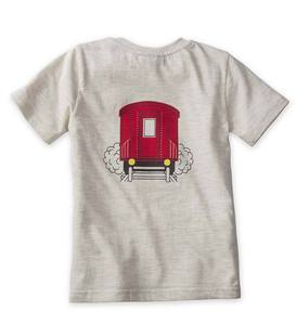 Short Sleeve Plaid Train Graphic Tee - 10