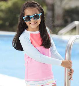 Striped Two-Piece Swimsuit and Long Sleeve Raglan Rash Guard Set