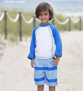 Long Sleeve Raglan Rash Guard and Swim Trunks Set