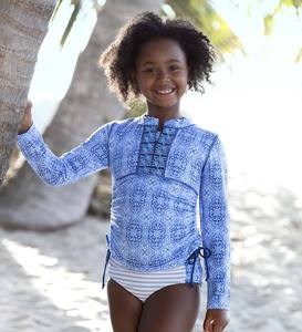 Moroccan Tile Two-Piece Swim Suit and Rash Guard Set