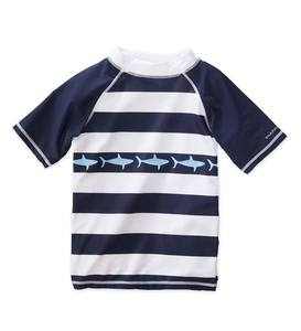 Short Sleeve Striped Shark Rash Guard