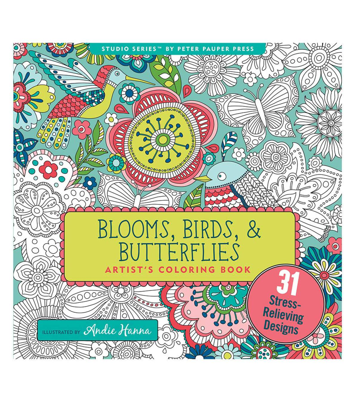 Blooms, Birds, and Butterflies Artists Coloring Book