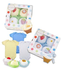 Baby Bunch Cupcake Gift Box with 4 Baby Tees