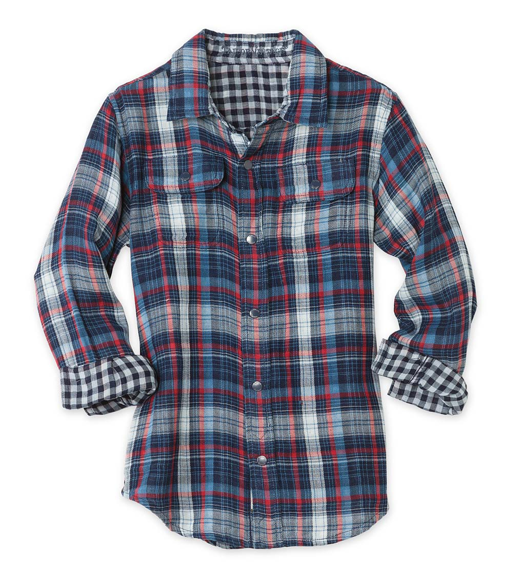 Long-Sleeve Reversible Plaid Button-Down Shirt