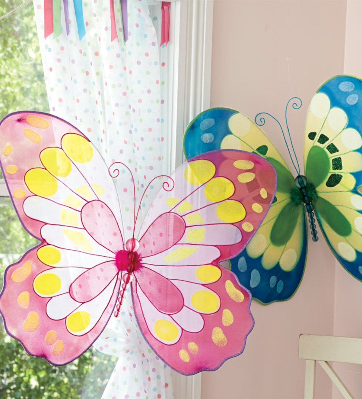 Easy-to-Hang Giant Decorative Butterfly with Bendable Wings and Beaded Body - Blue/Green