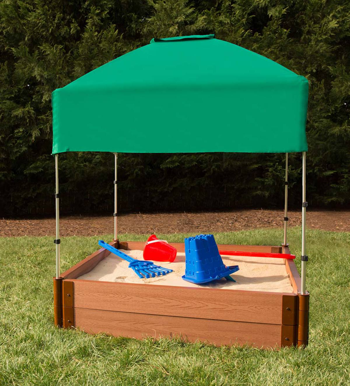 Double-Level Square Sandbox with Canopy Cover