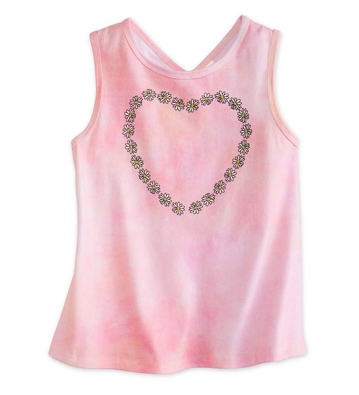 Daisy Heart Tee - Peach - 7/8
