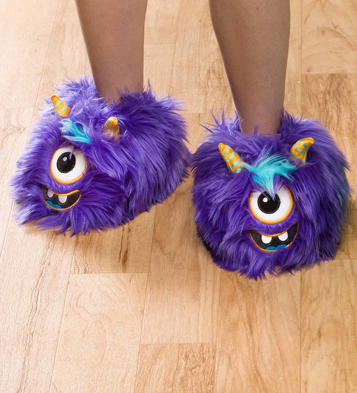 Purple Monster Slippers - Medium (child's 12 1/2–2 1/2)