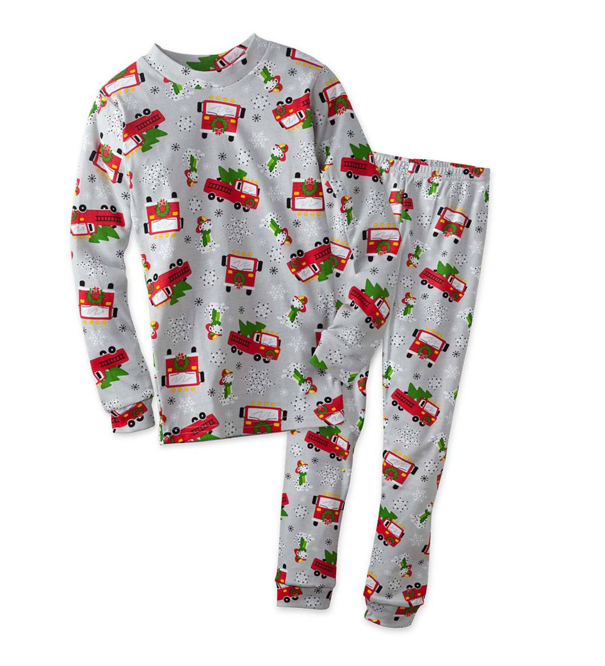 Santa Fire Trucks Pajamas - Gray - 4