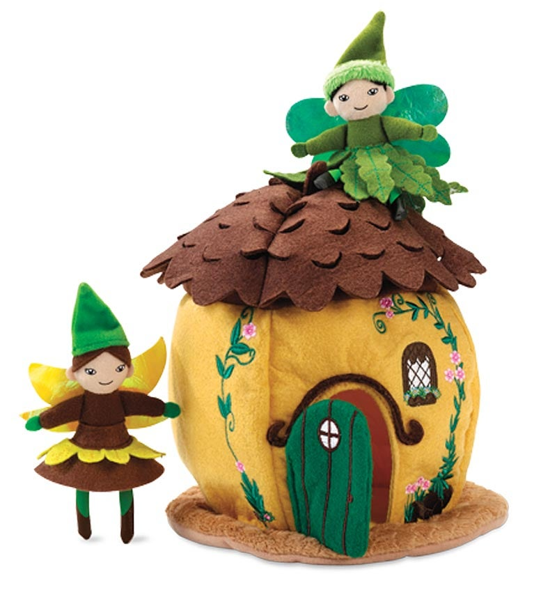 Woodland Fairy Home with Two Posable Fairies - Acorn