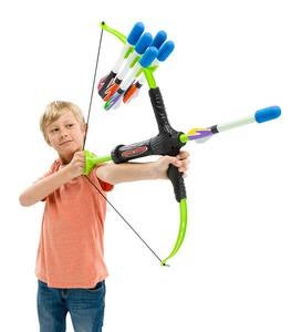 Faux Bow and Foam-Tipped Arrows Practice Archery Set with Built-In Quiver