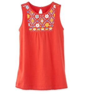 Sleeveless Printed-Yoke Tunic - Red - 7/8