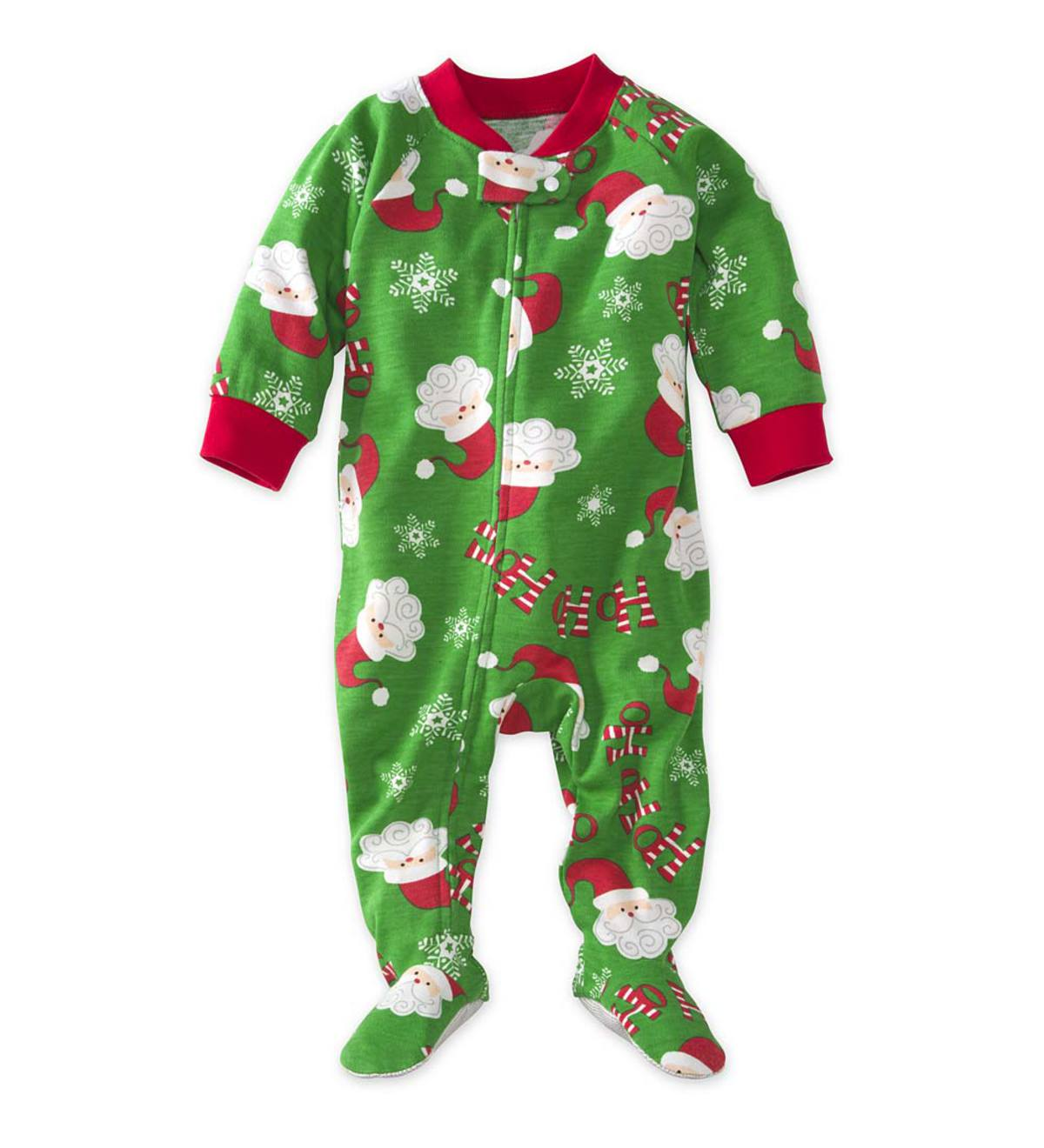 Santa Footed Pajamas - Green - 6M
