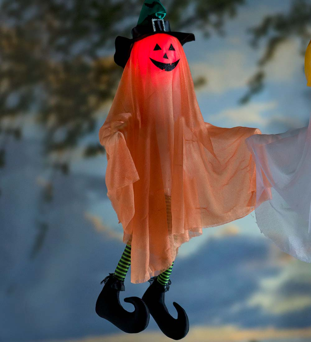 Kicking, Cackling, Light-Up Witch Ghost