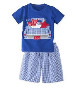 USA Flag and Truck Tee and Shorts Set - MLT - 6