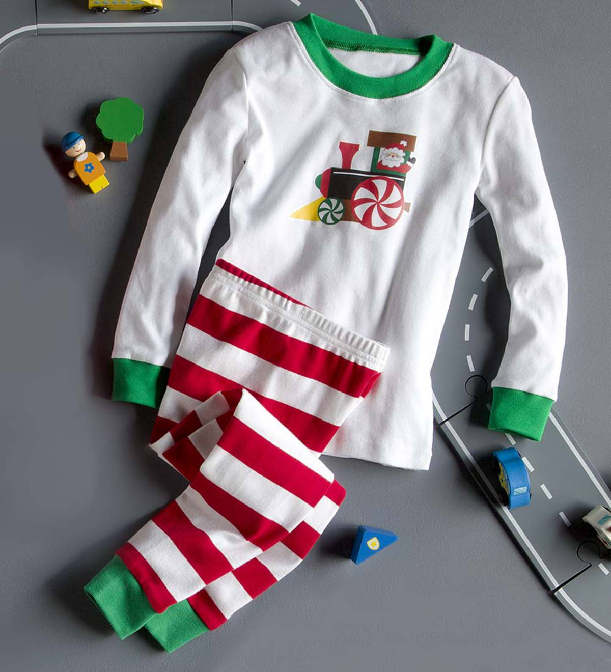 Santa Train Pajamas - Green - 14