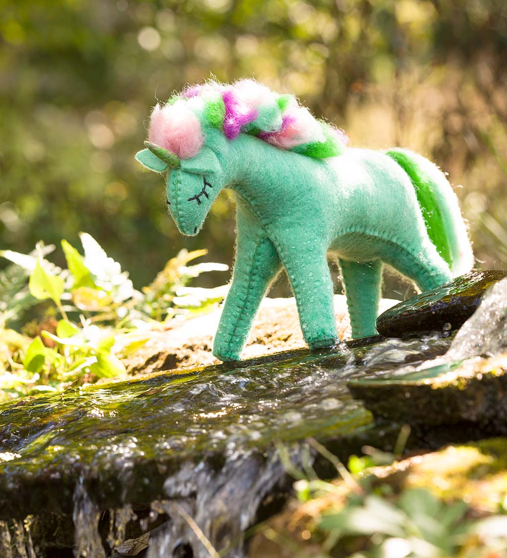Rainbow Felted-Wool Unicorn