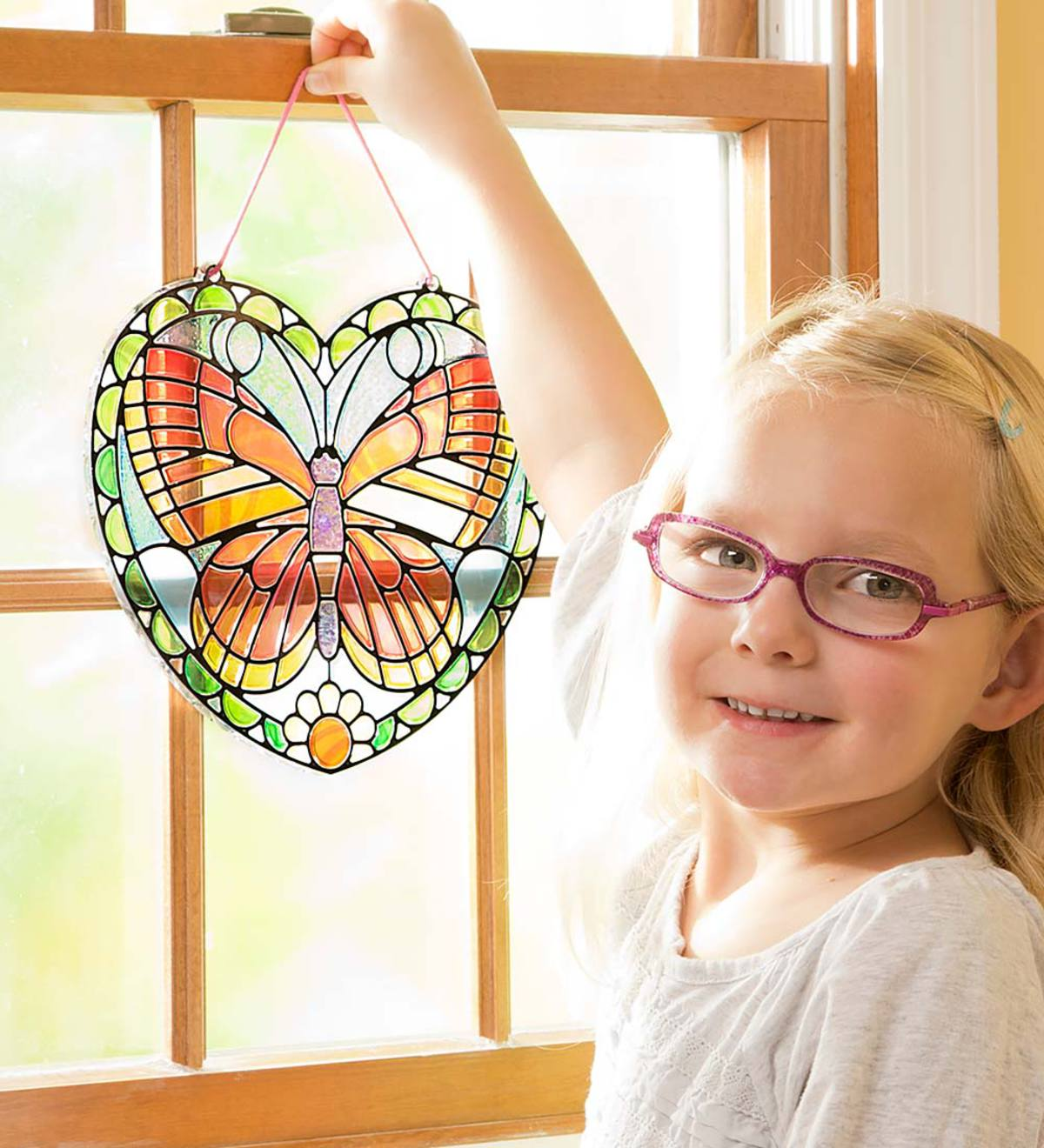 Stained Glass Butterfly Heart Kit