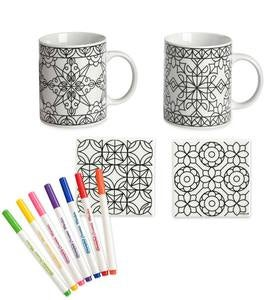 Color Pops® Color-Your-Own-Mugs and Coasters Set - Geometric