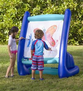 Giant Inflatable Indoor and Outdoor Easel with Paints, Sponges, and a Paintbrush