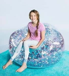 Confetti-Filled Inflatable Vinyl Chair - Blue