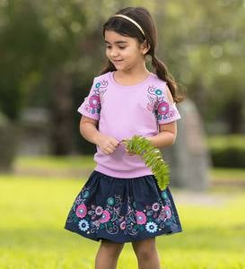 Short-Sleeve Open-Shoulder Embroidered Flowers Top and Skirt Set