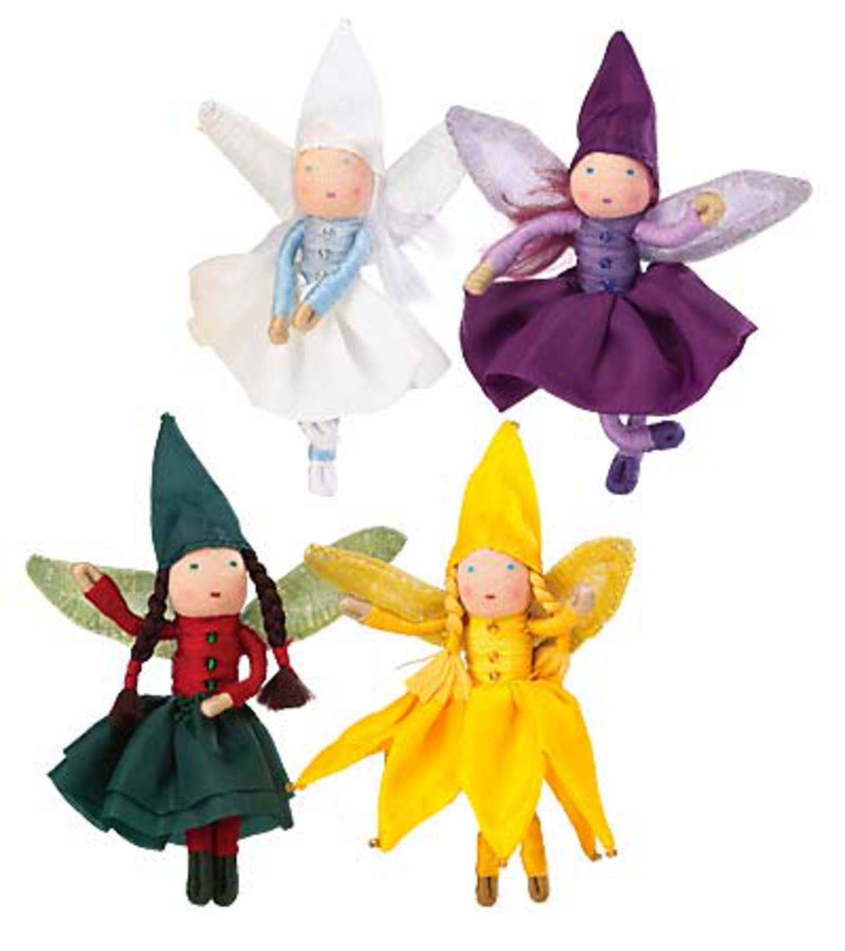"3-1/2"" Posable Holiday Mini Fairies with Organza Bag - White Snowflake"