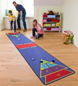 Shuffle Zone Shuffleboard Family Game Carpet with Wooden Cues and Pucks, 12'L