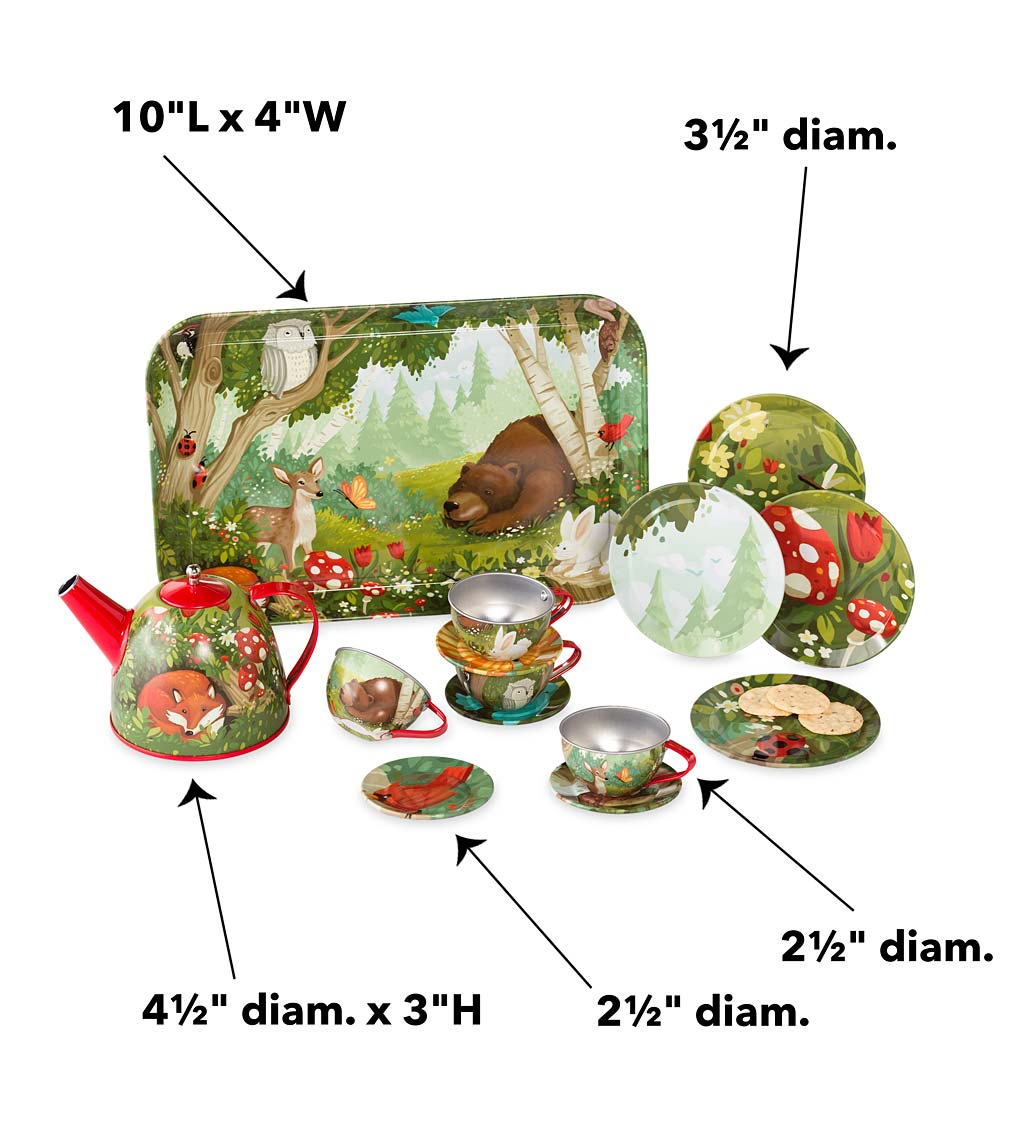 15-Piece Woodland-Themed Tin Tea Set