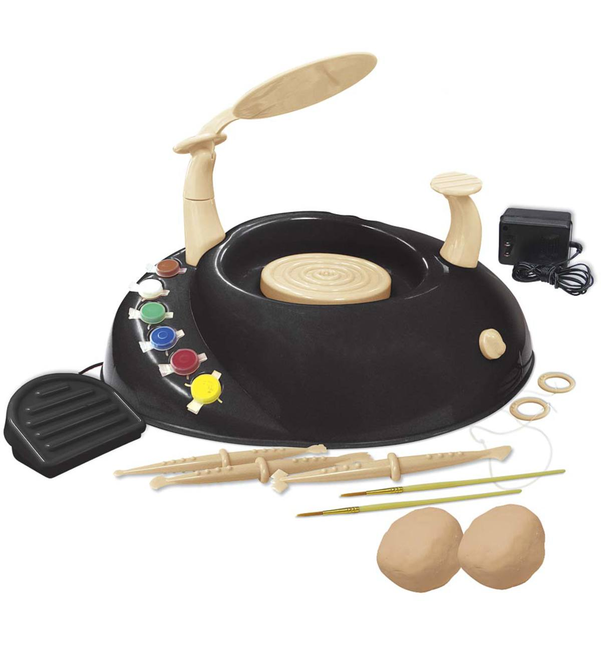 Pottery Wheel Kit, Includes Pottery Wheel, Air Dry Clay, Three Clay Knives, Cutting Cord, Six Paint Pots, Two Paintbrushes, and Instructions