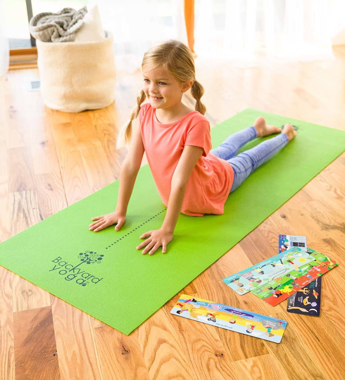 Backyard Yoga® Mat Set with Instruction Cards and the Nutty and Wiggles Yoga Card Game