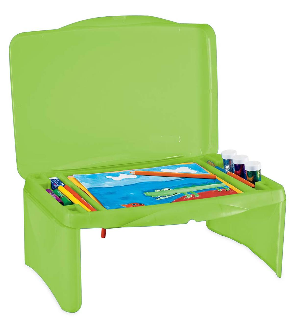 Picture of: Portable Folding Lap Desk With Storage Activity Tray Green Hearthsong