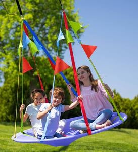 Rainbow Flag Round Platform Tree Swing