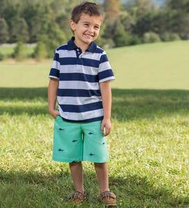Embroidered Shark Chino Shorts - Green - 2T