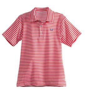Stripe Performance Polo - Red - 5