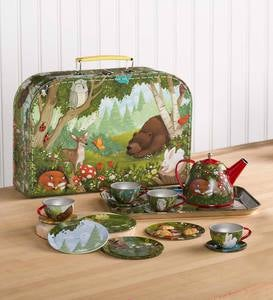 15-Piece Woodland-Themed Decorative Tin Tea Set