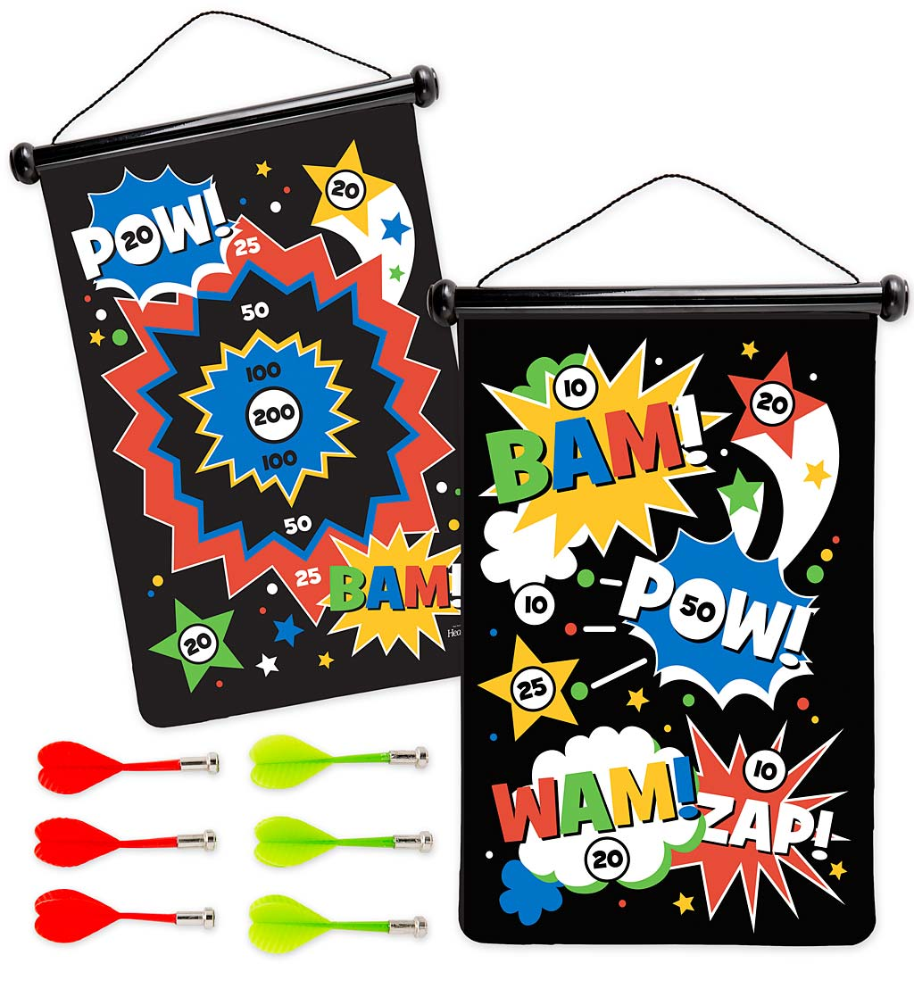 Double-Sided Magnetic Canvas Target Game - Superhero | HearthSong