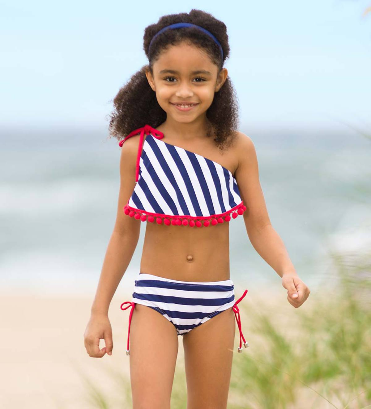 Stripe Pom-Pom Two-Piece Swimsuit