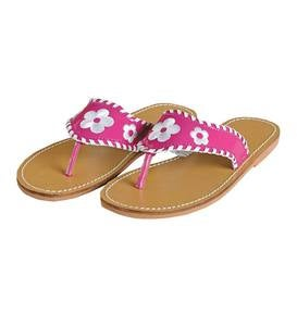 Stitched Flower Sandal - Fuschia - 12
