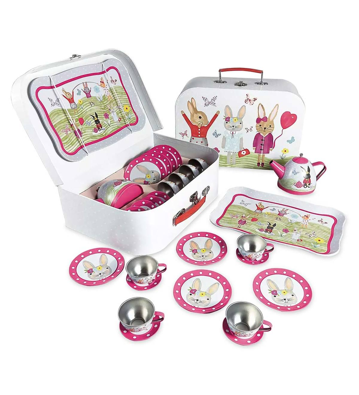 Bunny Rabbit Tin Tea Set