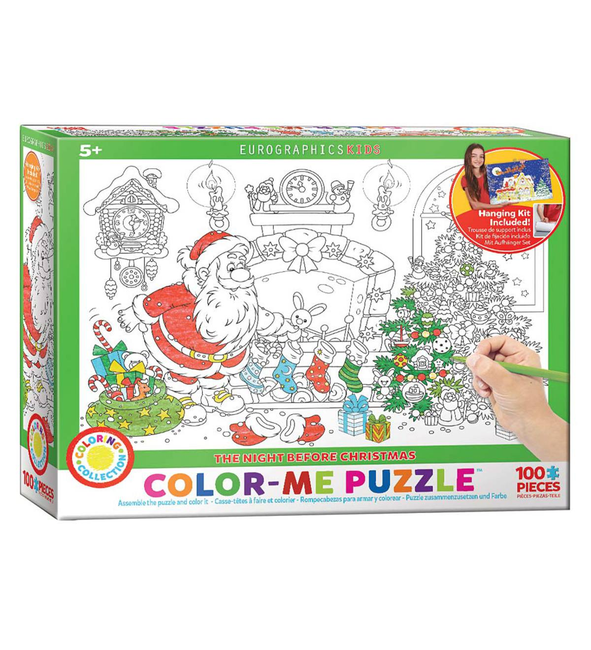 Kids' 100-Piece Holiday Mini Color-Me Jigsaw Puzzle