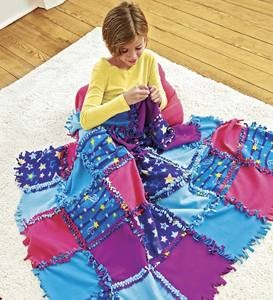 Fleece Starry Sky Knot-A-Quilt No-Sew Craft Kit for Kids