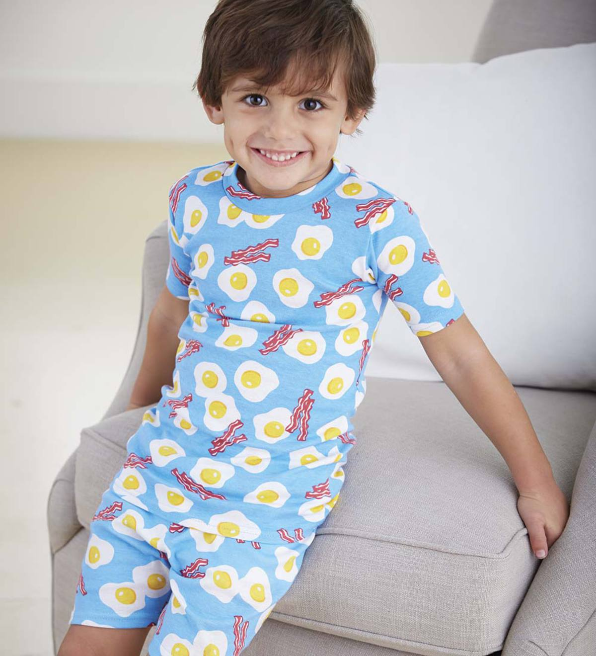 Short Cotton Pajamas - Blue - 14