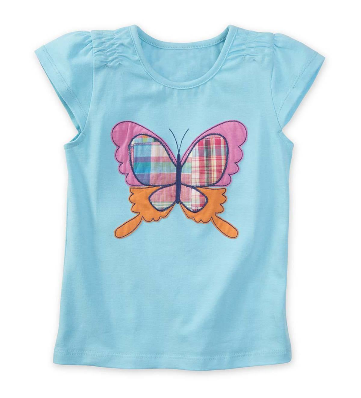 Cap Sleeve Plaid Butterfly Tee - 3T